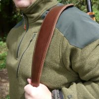 Six Magpies Brown Leather Padded Rifle Sling - Handmade in England